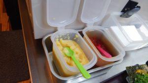 えび豚骨拉麺 春樹 南砂町スナモ店の無料トッピング にんにくと豆板醤